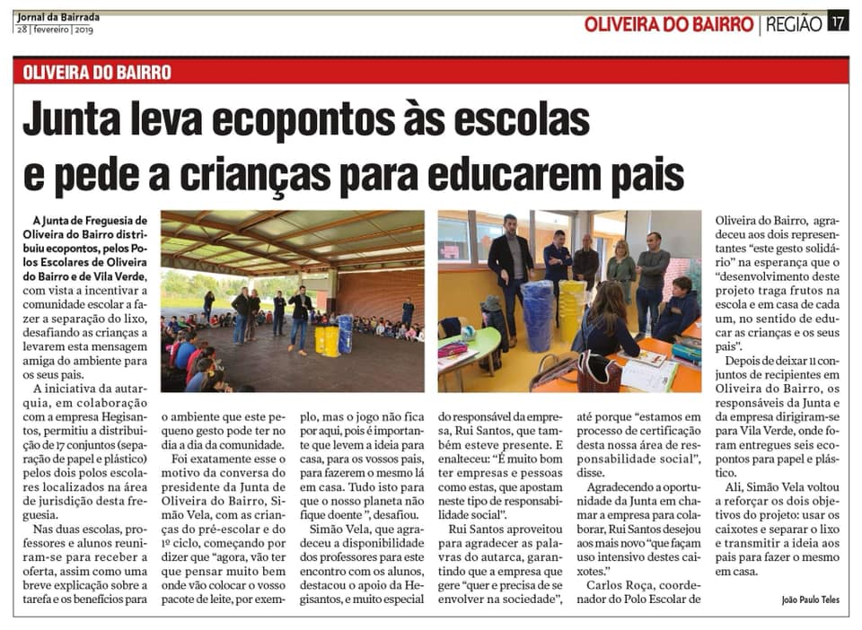 ENTREGUE DE ECOPONTOS NOS POLOS ESCOLARES